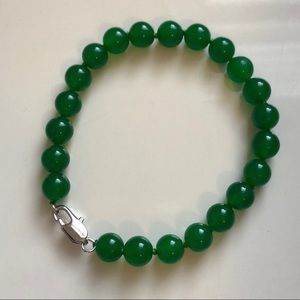 Green Jade Bracelet with Silver Clasp 8 Inches